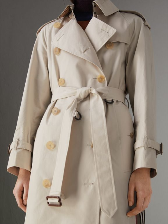 Striped Ribbon Cotton Gabardine Trench Coat in Stone - Women | Burberry - cell image 1