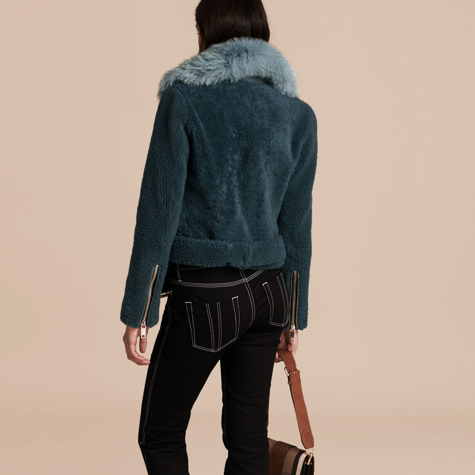 Light steel blue Shearling Biker Jacket with Fur Collar Light Steel Blue - gallery image 3
