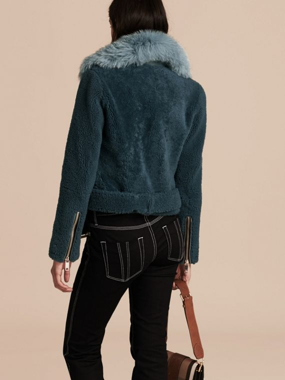 Light steel blue Shearling Biker Jacket with Fur Collar Light Steel Blue - cell image 2