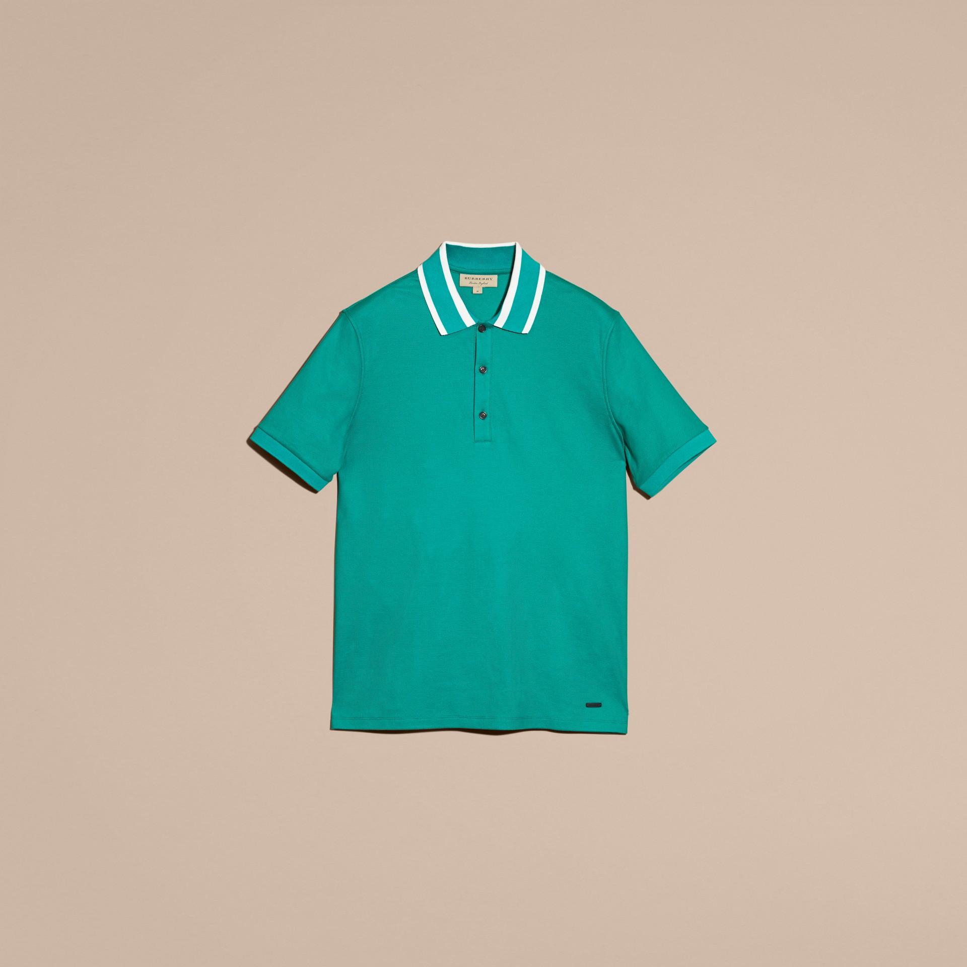 Striped Collar Cotton Piqué Polo Shirt Viridian Green - gallery image 4