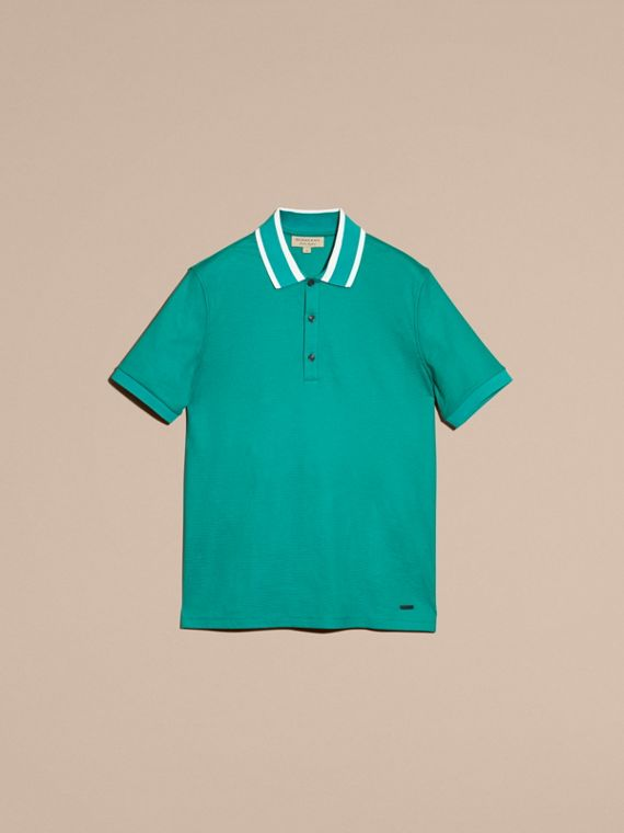 Striped Collar Cotton Piqué Polo Shirt Viridian Green - cell image 3