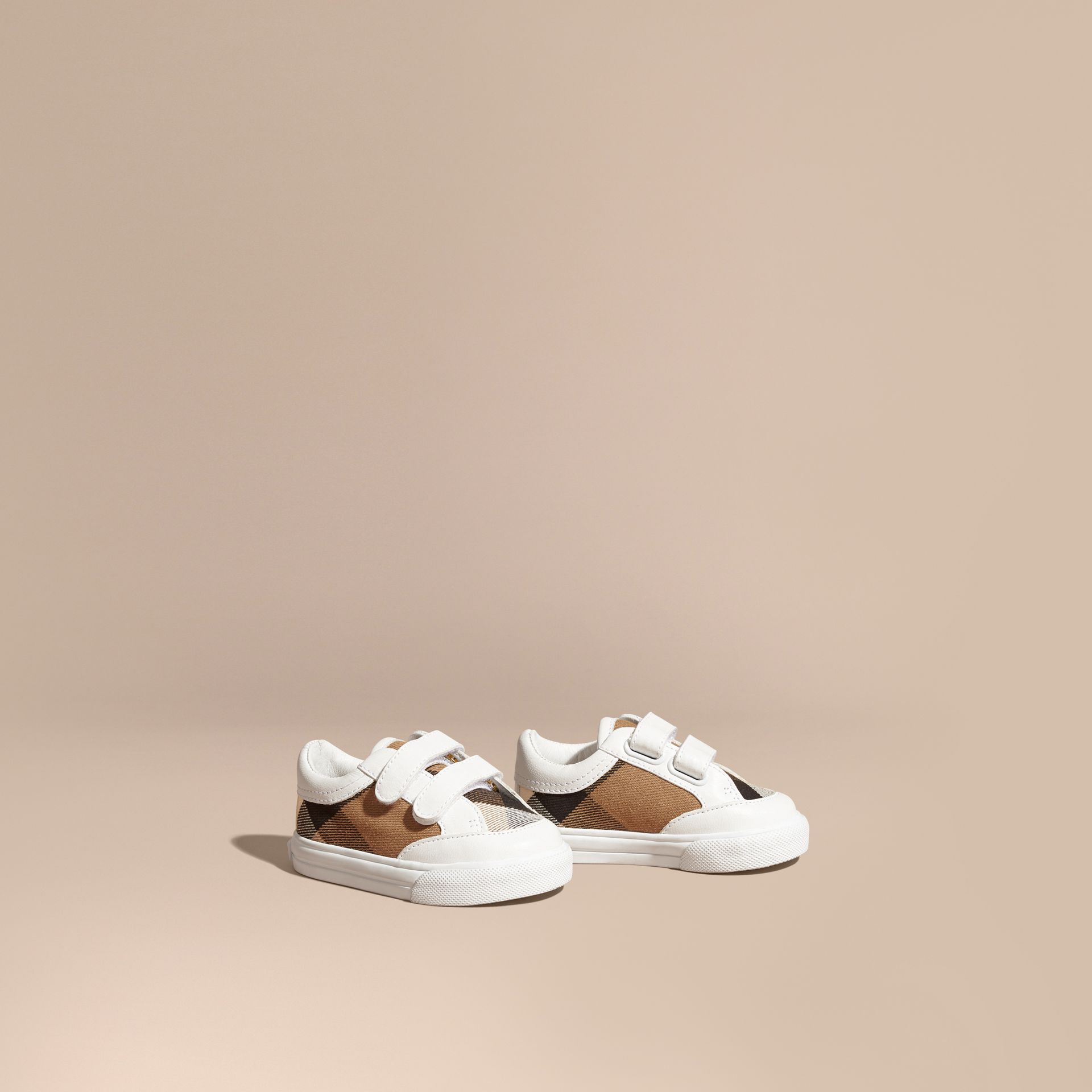 House Check and Leather Trainers in Optic White | Burberry Australia - gallery image 1