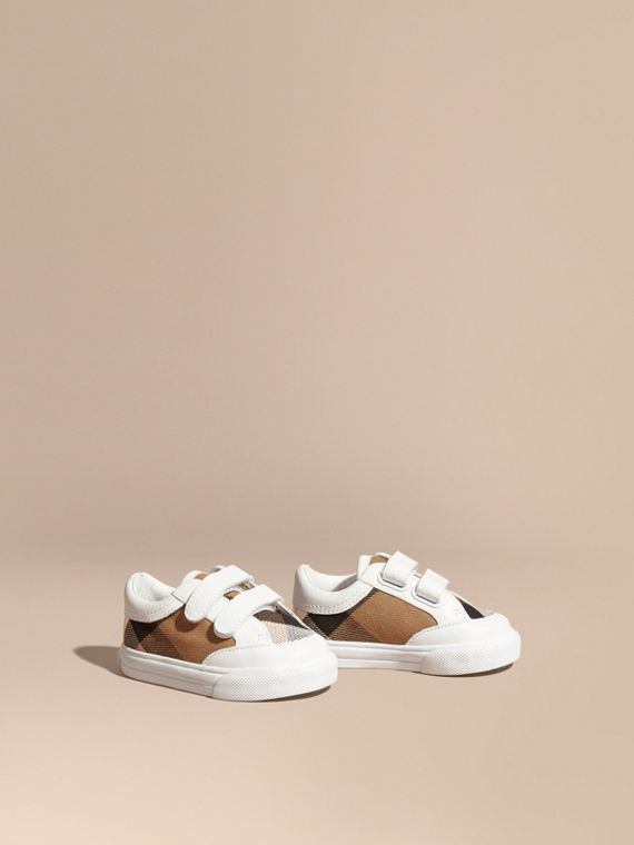 House Check and Leather Trainers in Optic White | Burberry