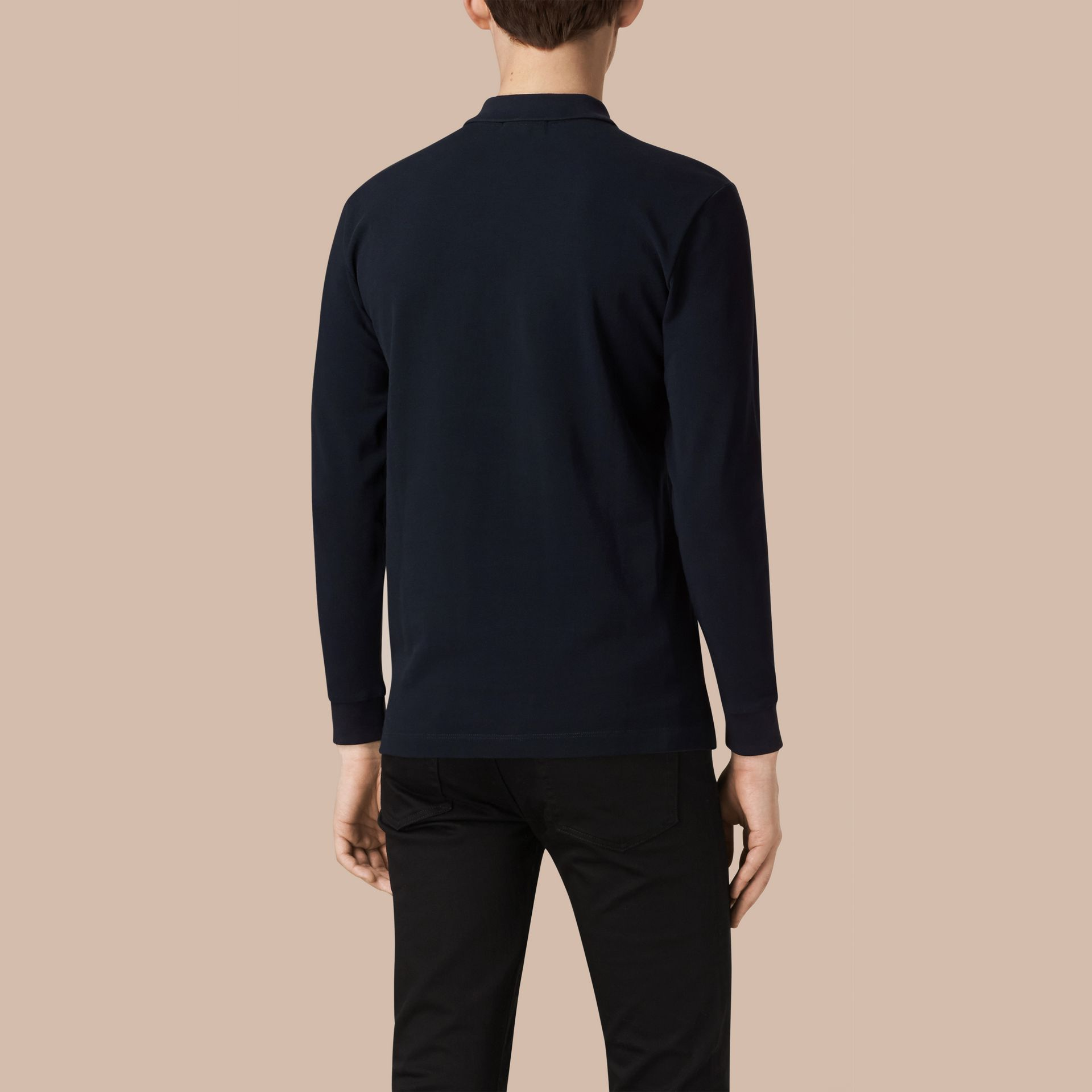 Check Placket Long Sleeve Polo Shirt in Dark Navy - gallery image 3