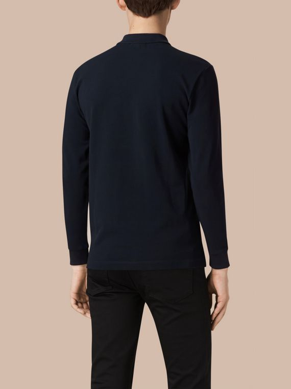 Check Placket Long Sleeve Polo Shirt in Dark Navy - cell image 2