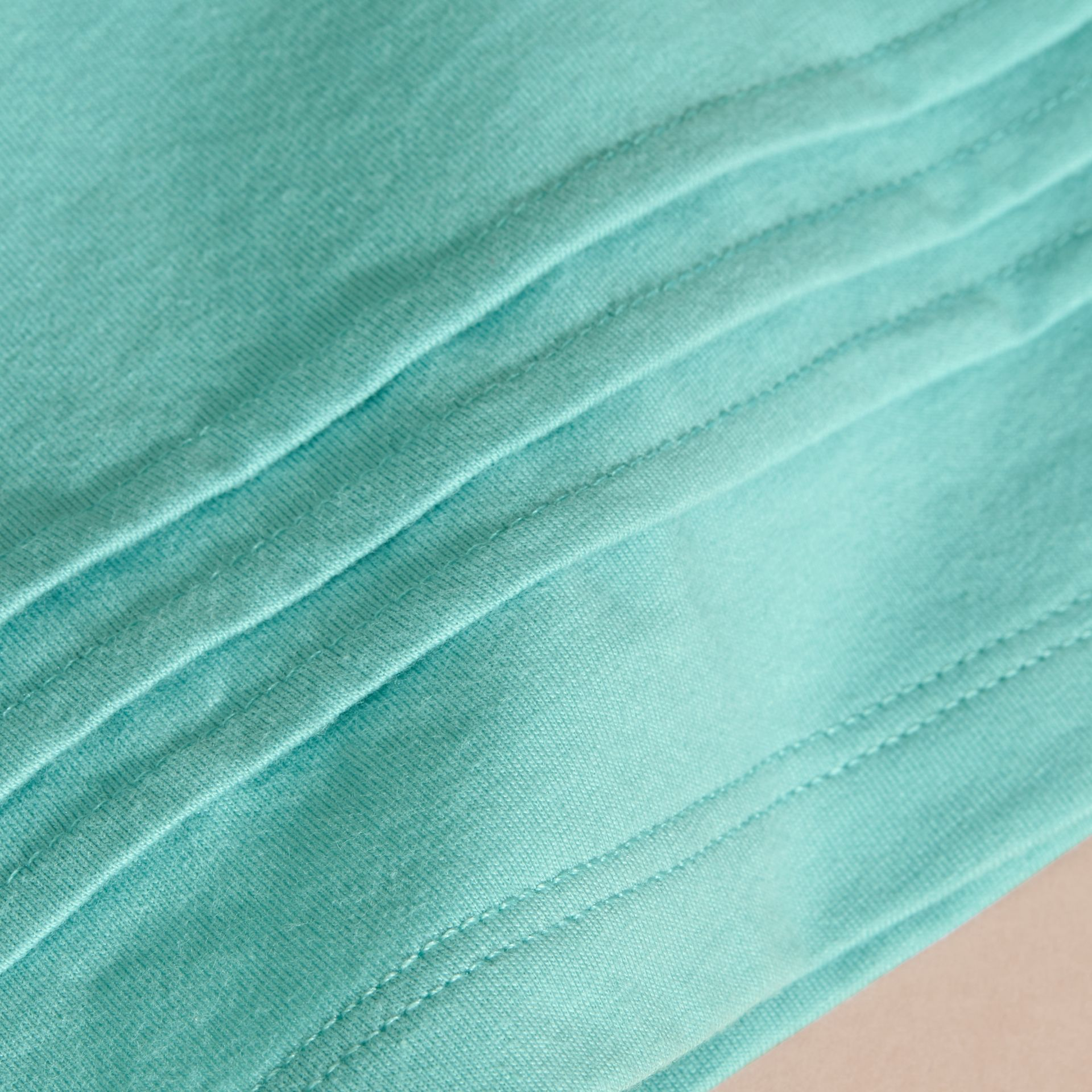 Pleat and Check Detail Cotton T-shirt in Pale Turquoise - gallery image 2