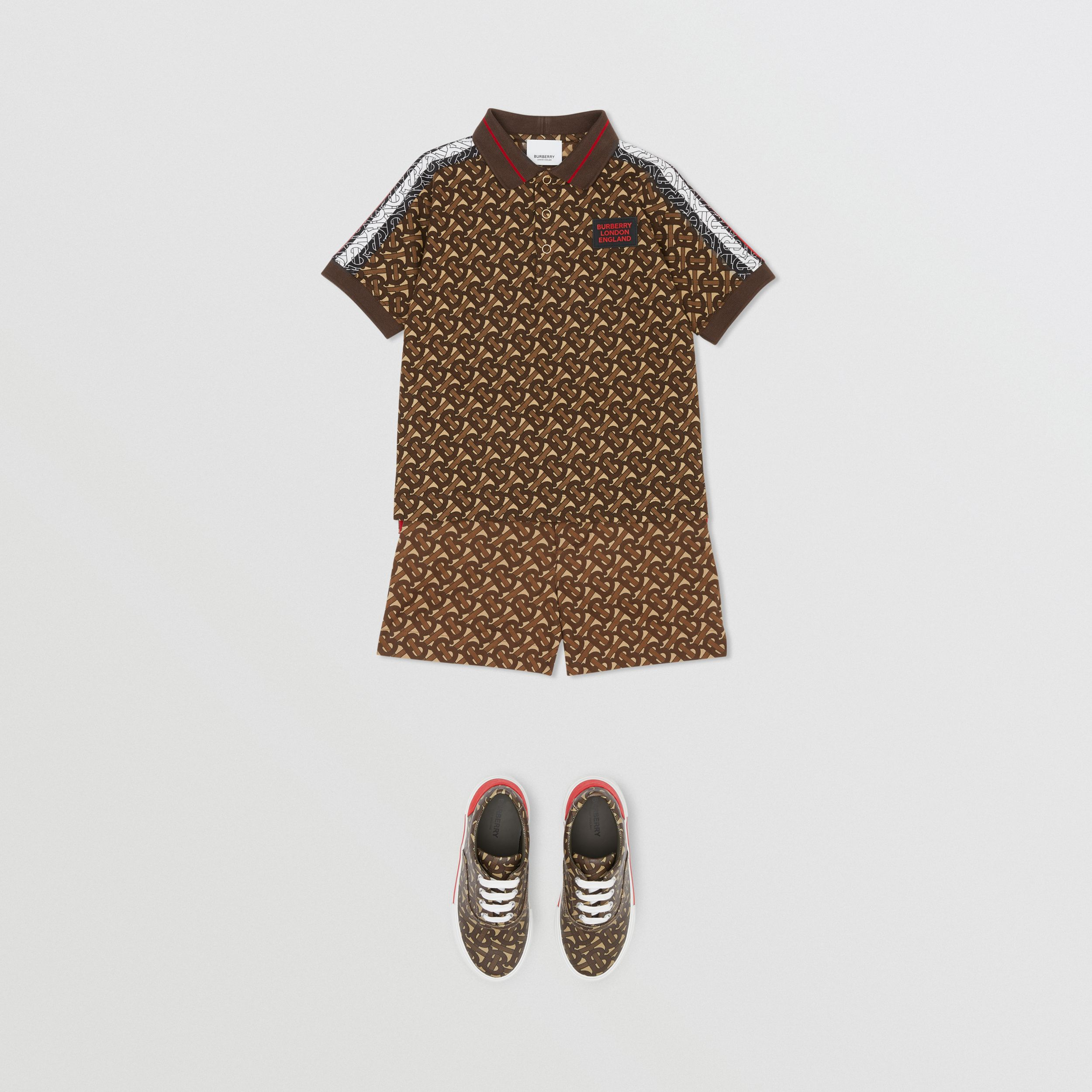Monogram Stripe Print Cotton Piqué Polo Shirt in Bridle Brown | Burberry - 3
