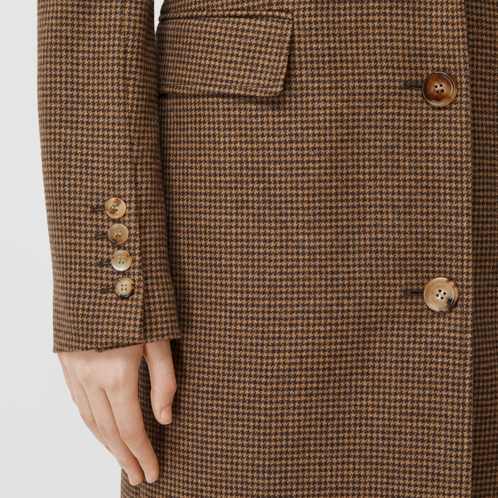 Track Top Detail Houndstooth Check Tailored Coat in Brown - Women | Burberry - gallery image 4