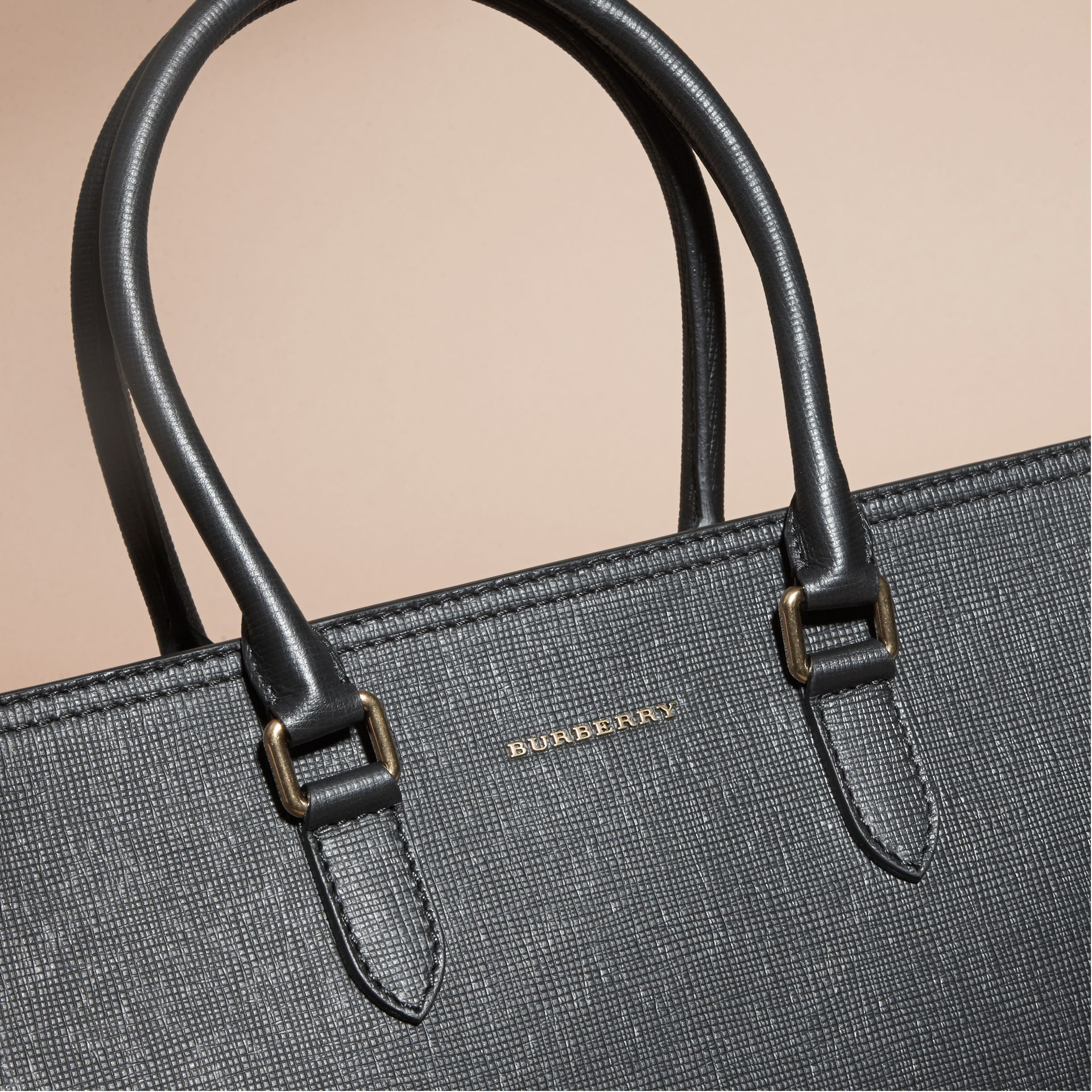 Black London Leather and House Check Tote Bag - gallery image 7