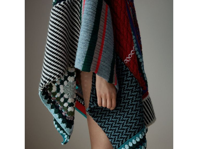 Cashmere Wool Blend Patchwork Poncho in Multicolour | Burberry Australia - cell image 1