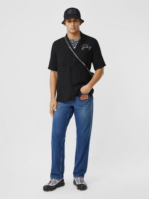 Short-sleeve Embroidered Logo Twill Shirt in Black