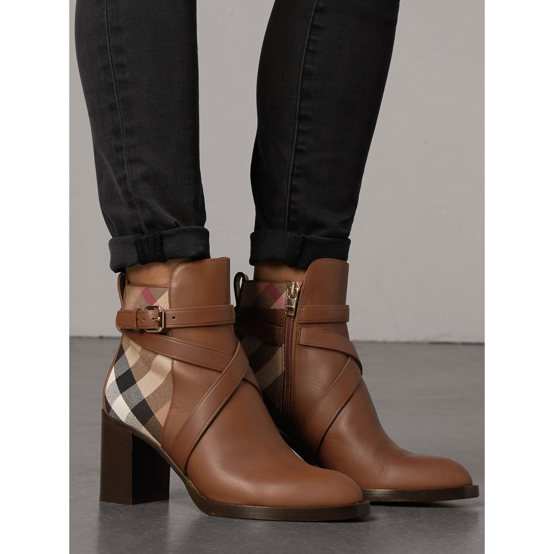 House Check and Leather Ankle Boots in Bright Camel - Women | Burberry United Kingdom - gallery image 2