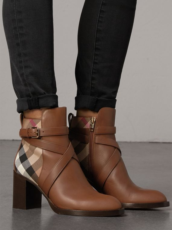 House Check and Leather Ankle Boots in Bright Camel - Women | Burberry United Kingdom - cell image 2