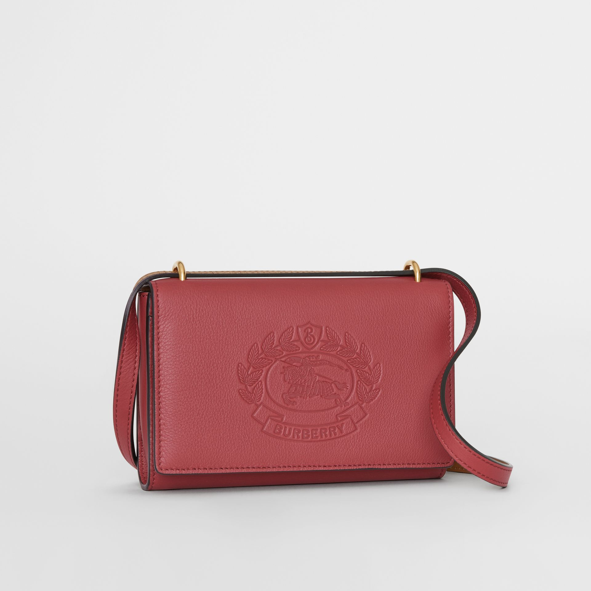 Embossed Crest Leather Wallet with Detachable Strap in Crimson - Women | Burberry - gallery image 6
