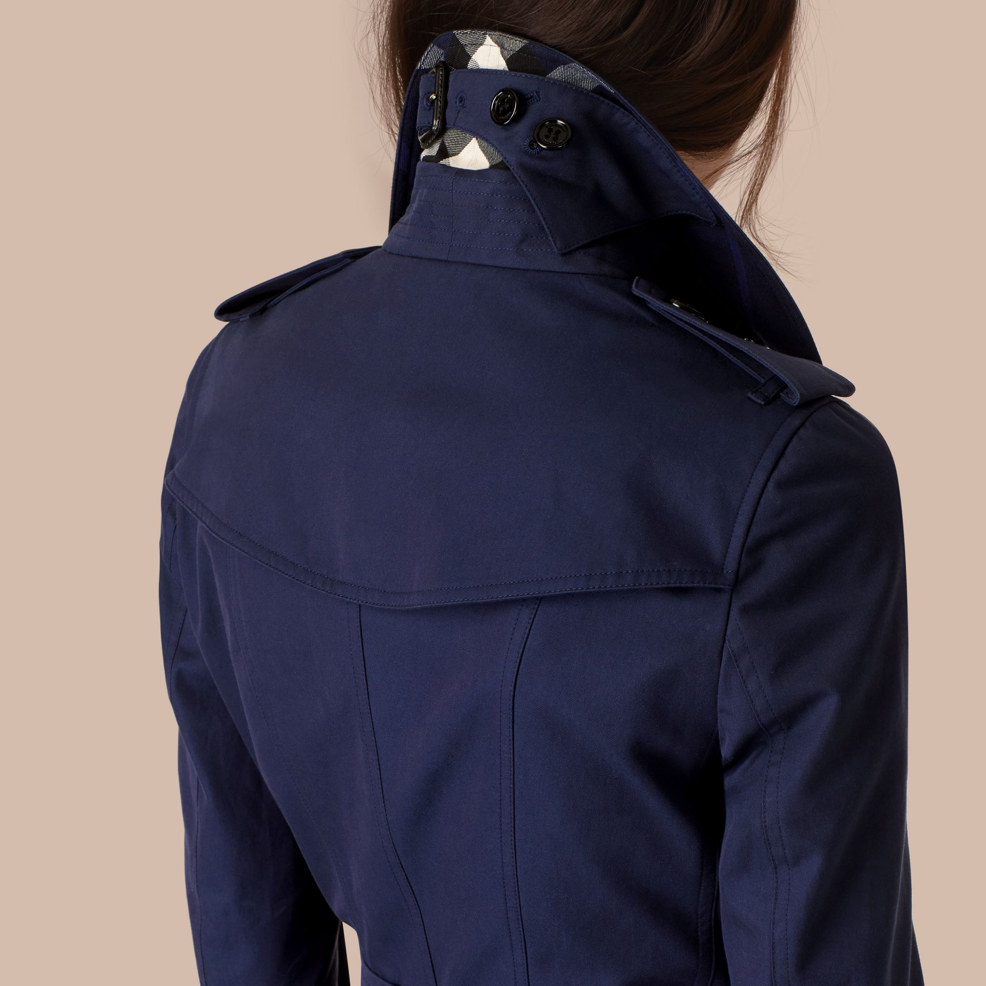 Ink blue Cotton Gabardine Trench Coat Ink Blue - gallery image 5