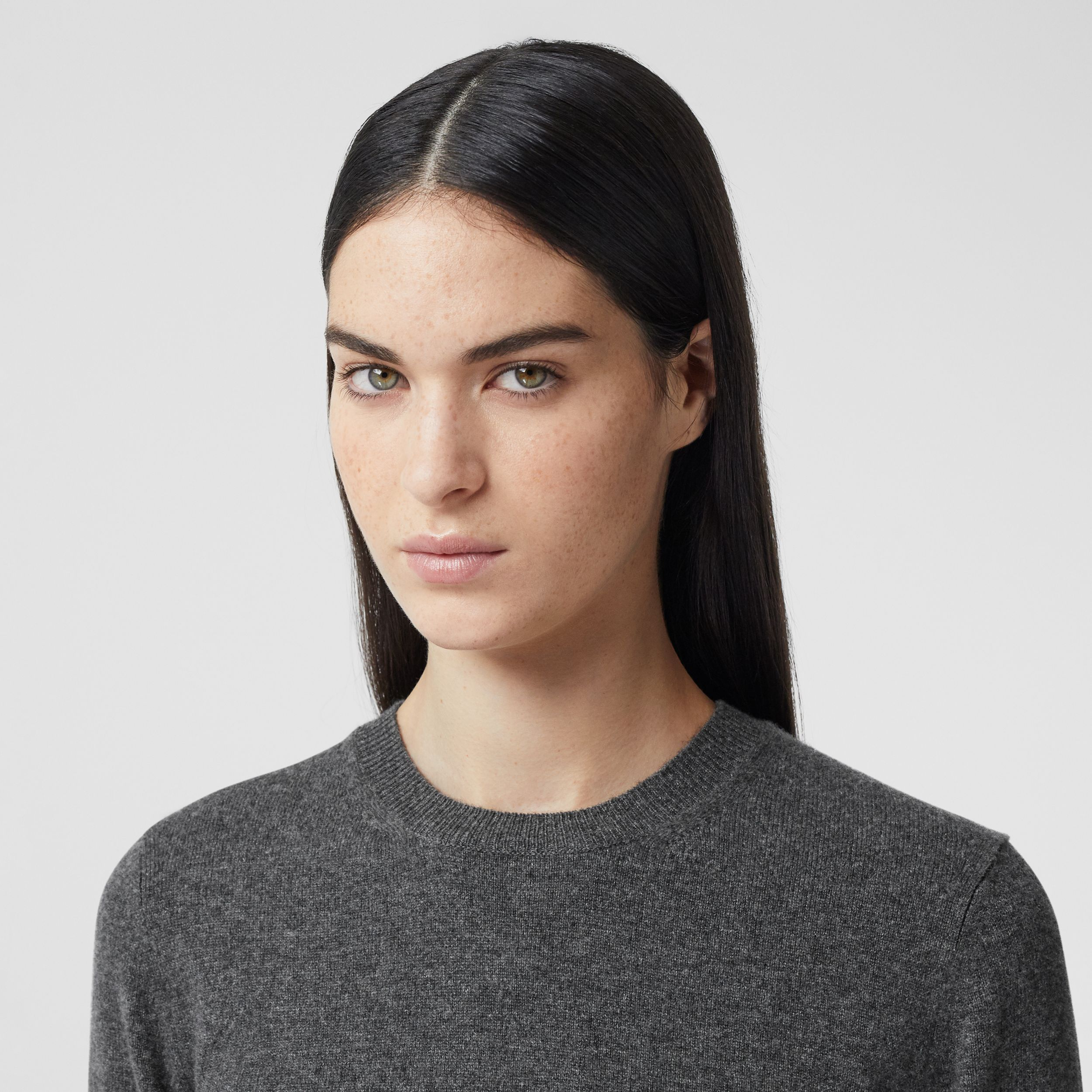 Short-sleeve Cashmere Top in Grey Melange - Women | Burberry - 2