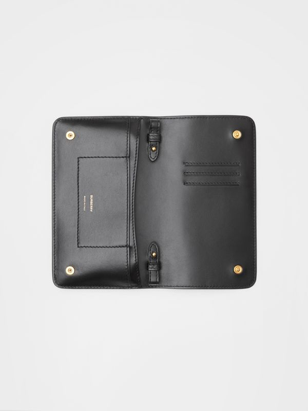 Grainy Leather Phone Wallet with Strap in Black - Women | Burberry United States - cell image 3