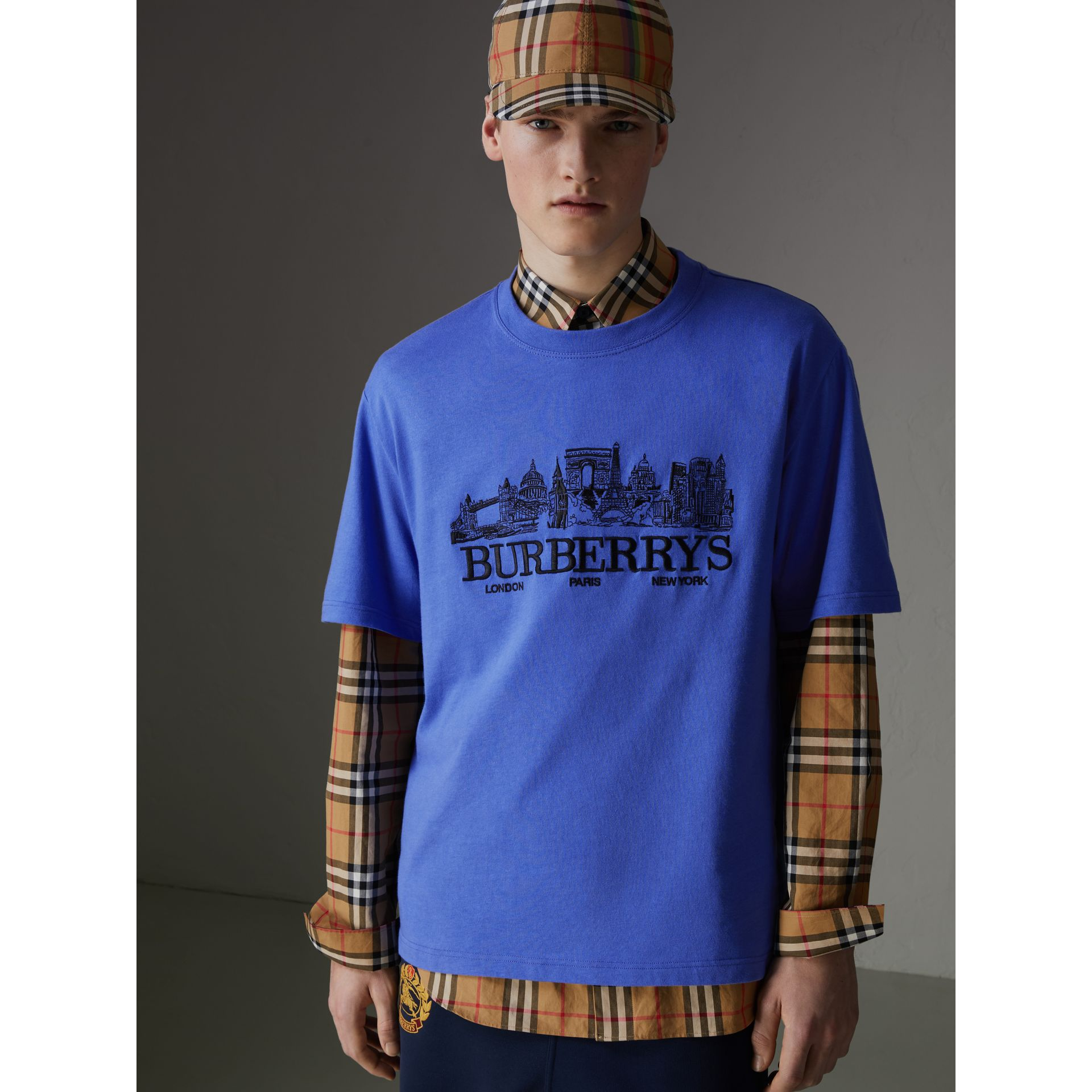 T-shirt en coton revisité (Bleu Barbeau) - Homme | Burberry - photo de la galerie 5