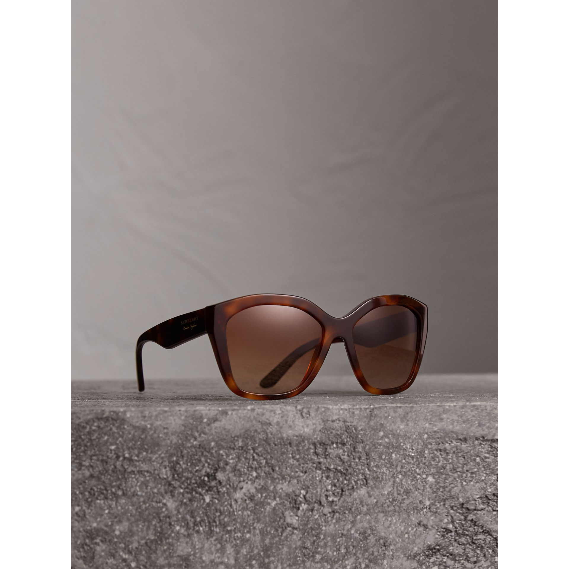 Square Frame Sunglasses in Light Brown - Women | Burberry - gallery image 0