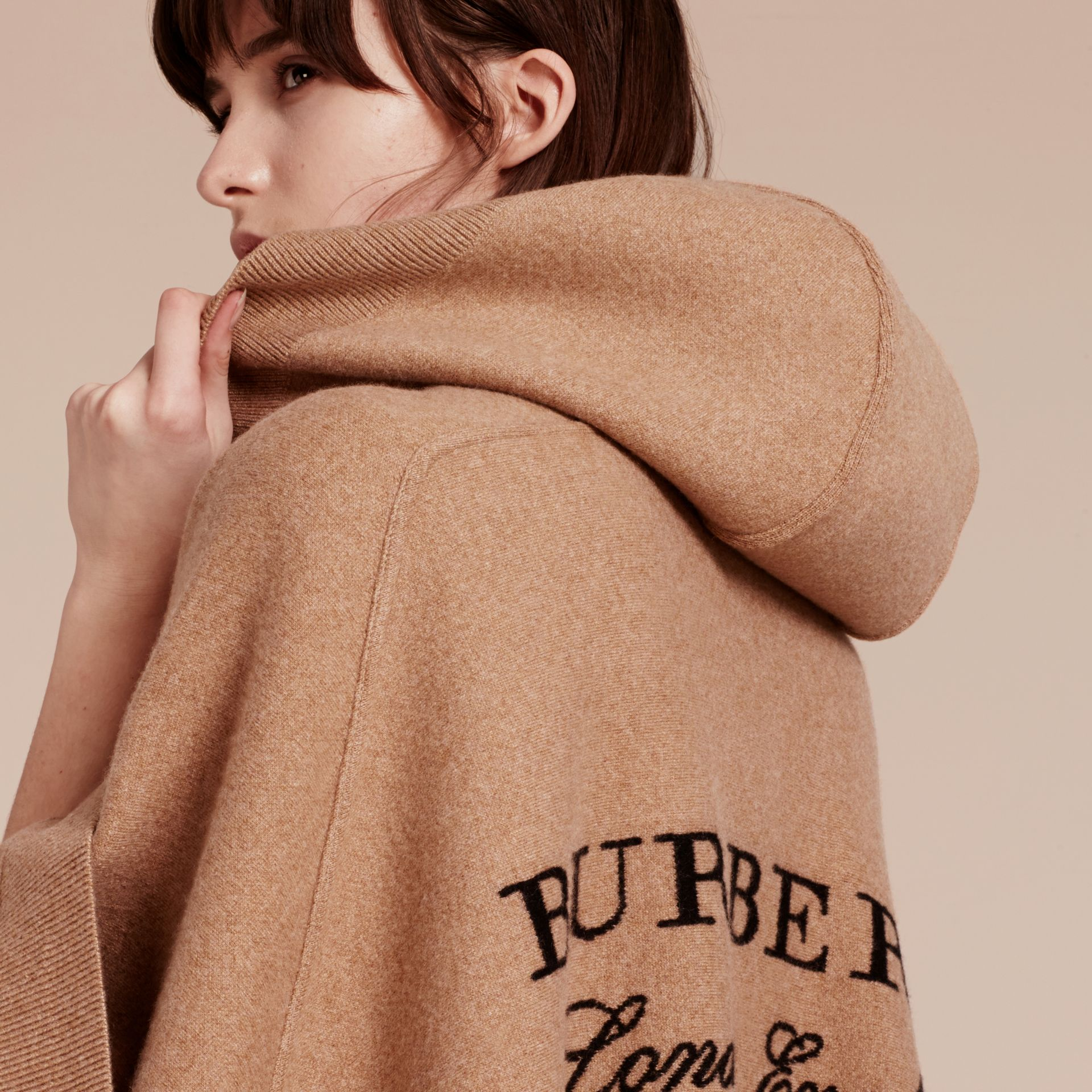 Camel Wool Cashmere Blend Hooded Poncho Camel - gallery image 3