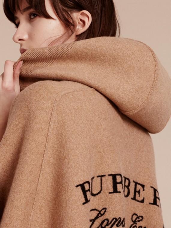 Cammello Poncho con cappuccio in misto lana e cashmere Cammello - cell image 2