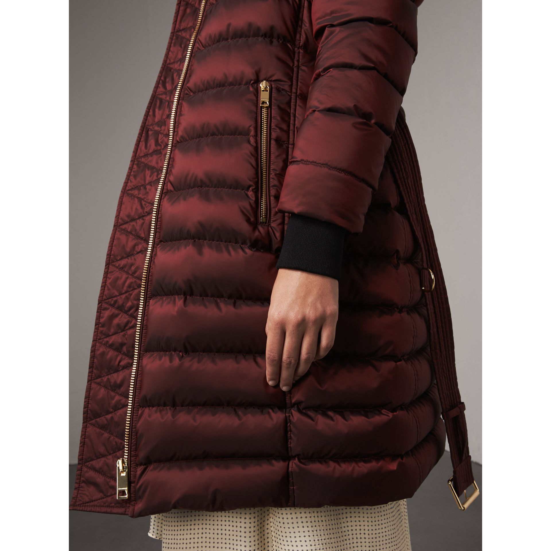 Detachable Fur Trim Down-filled Puffer Coat with Hood in Burgundy - Women | Burberry Australia - gallery image 1