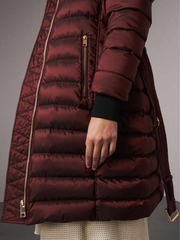 Detachable Fur Trim Down-filled Puffer Coat with Hood in Burgundy - Women | Burberry - cell image 1