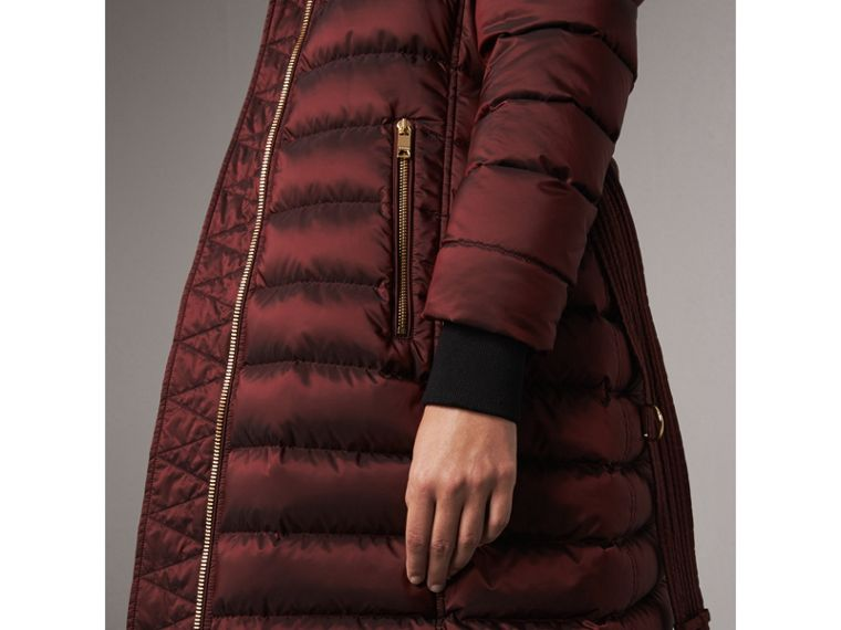 Detachable Fur Trim Down-filled Puffer Coat with Hood in Burgundy - Women | Burberry Australia - cell image 1