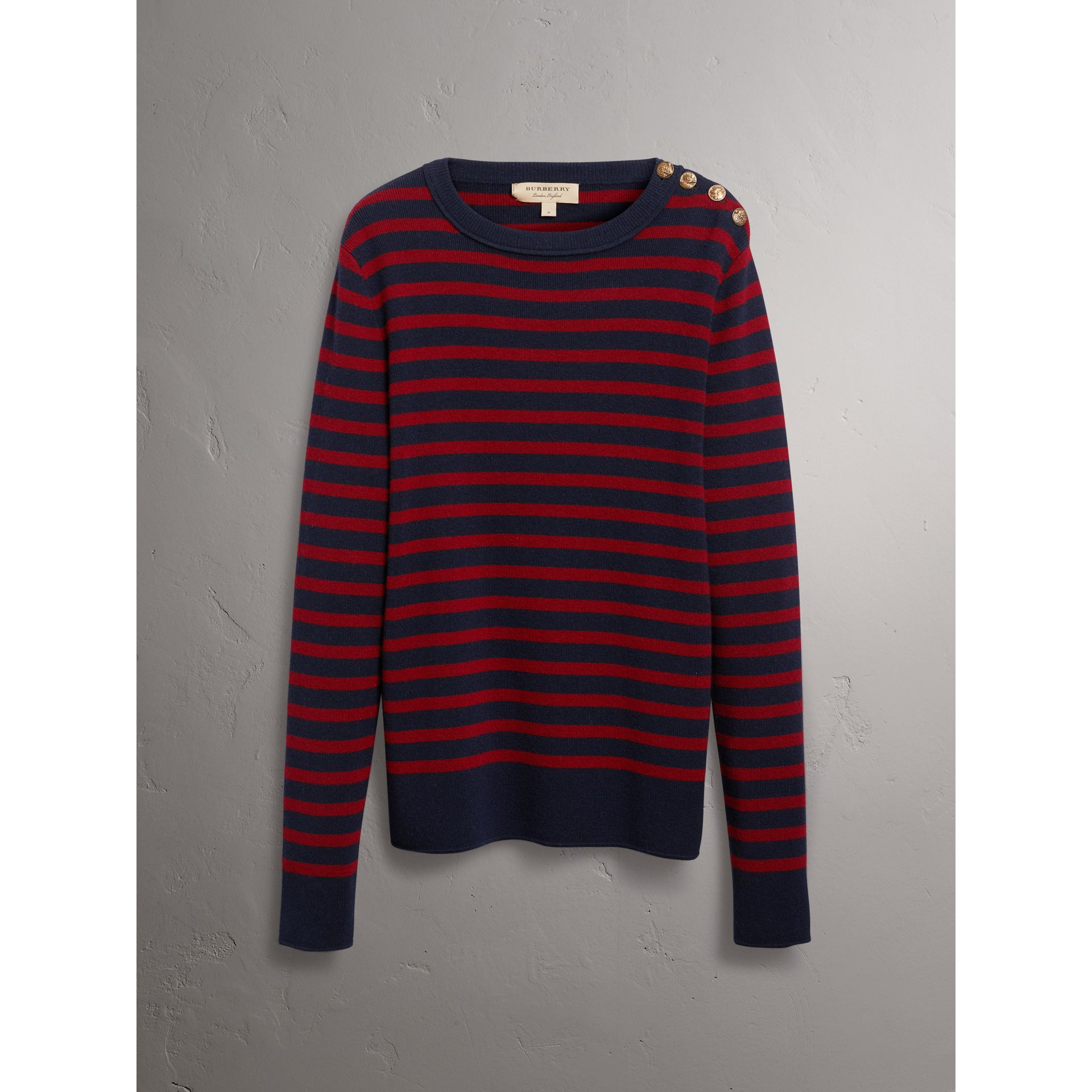 Bird Button Breton Stripe Wool Cashmere Sweater in Navy/deep Claret - Men | Burberry - gallery image 4