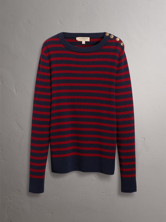 Bird Button Breton Stripe Wool Cashmere Sweater in Navy/deep Claret - Men | Burberry - cell image 3