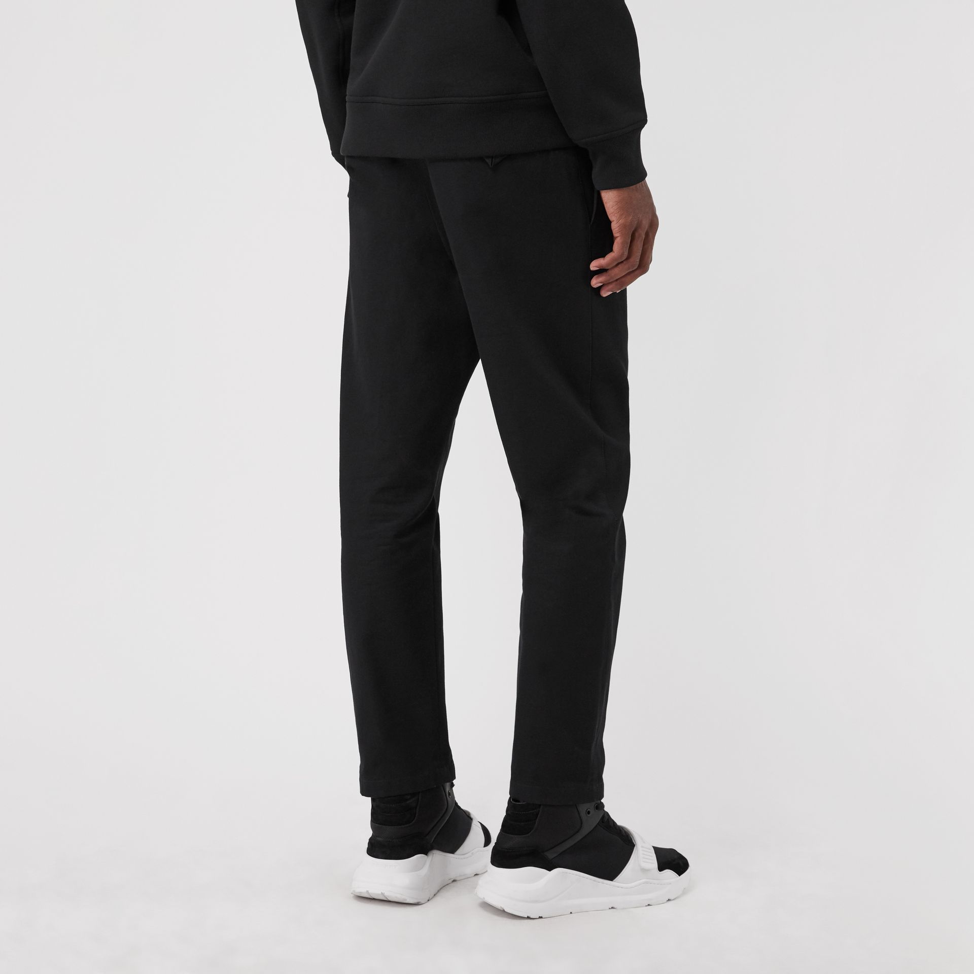 Slim Fit Cotton Blend Chinos in Black - Men | Burberry - gallery image 2
