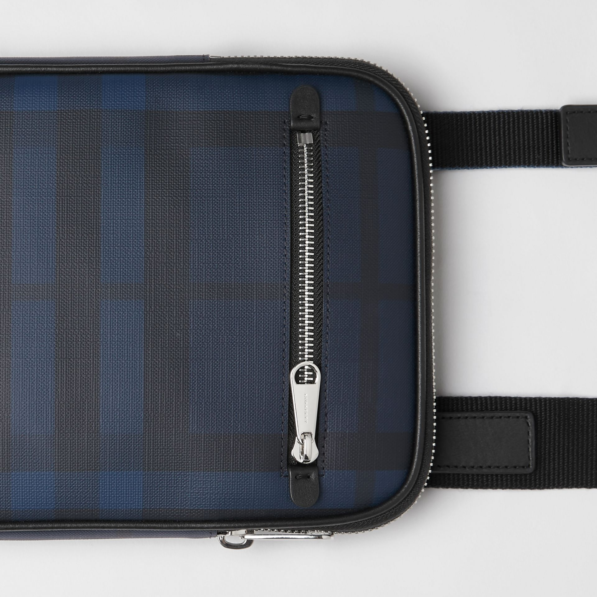 Slim London Check Crossbody Bag in Navy/black - Men | Burberry United Kingdom - gallery image 1