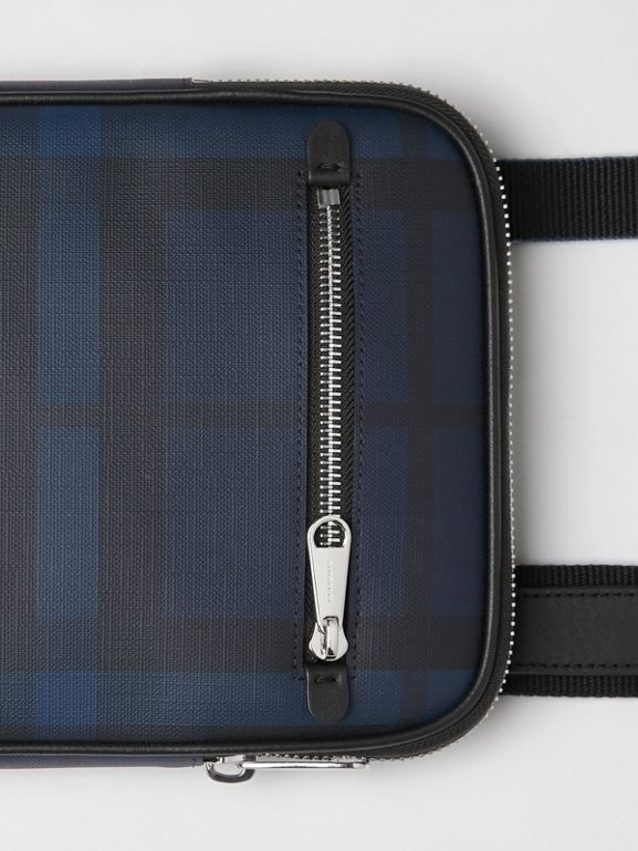 Slim London Check Crossbody Bag in Navy/black - Men | Burberry Hong Kong S.A.R - cell image 1