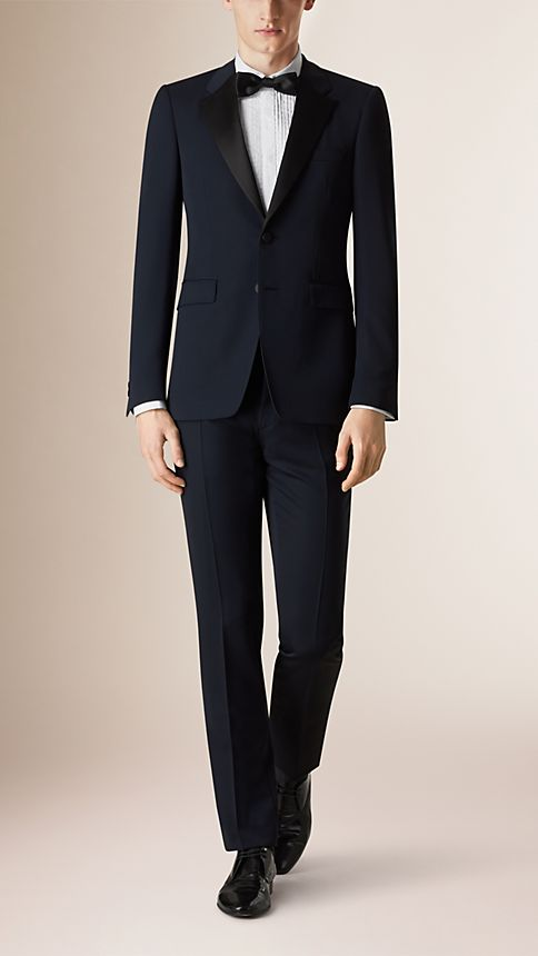 Navy Modern Fit Virgin Wool Half-canvas Tuxedo - Image 1