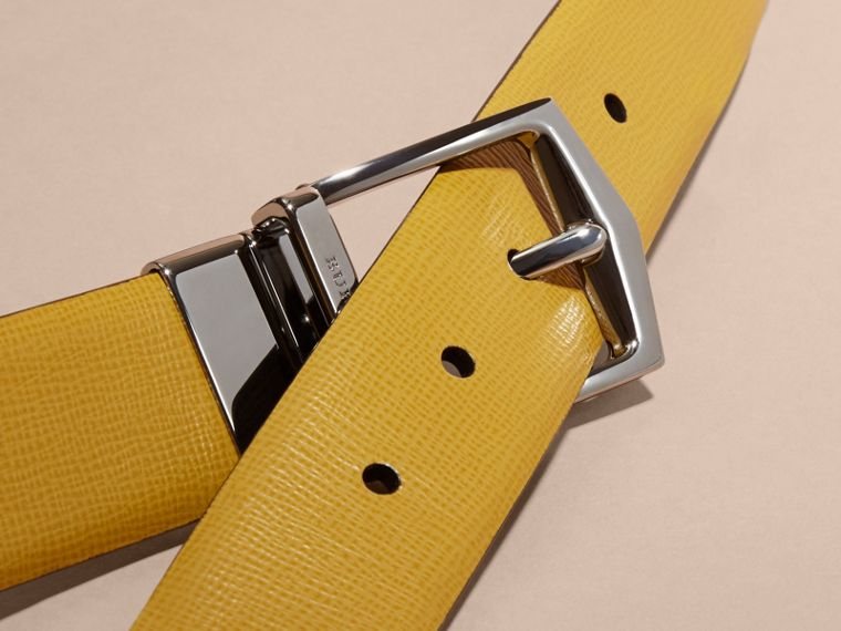 Reversible London Leather Belt Larch Yellow/bitter Chocolate - cell image 1