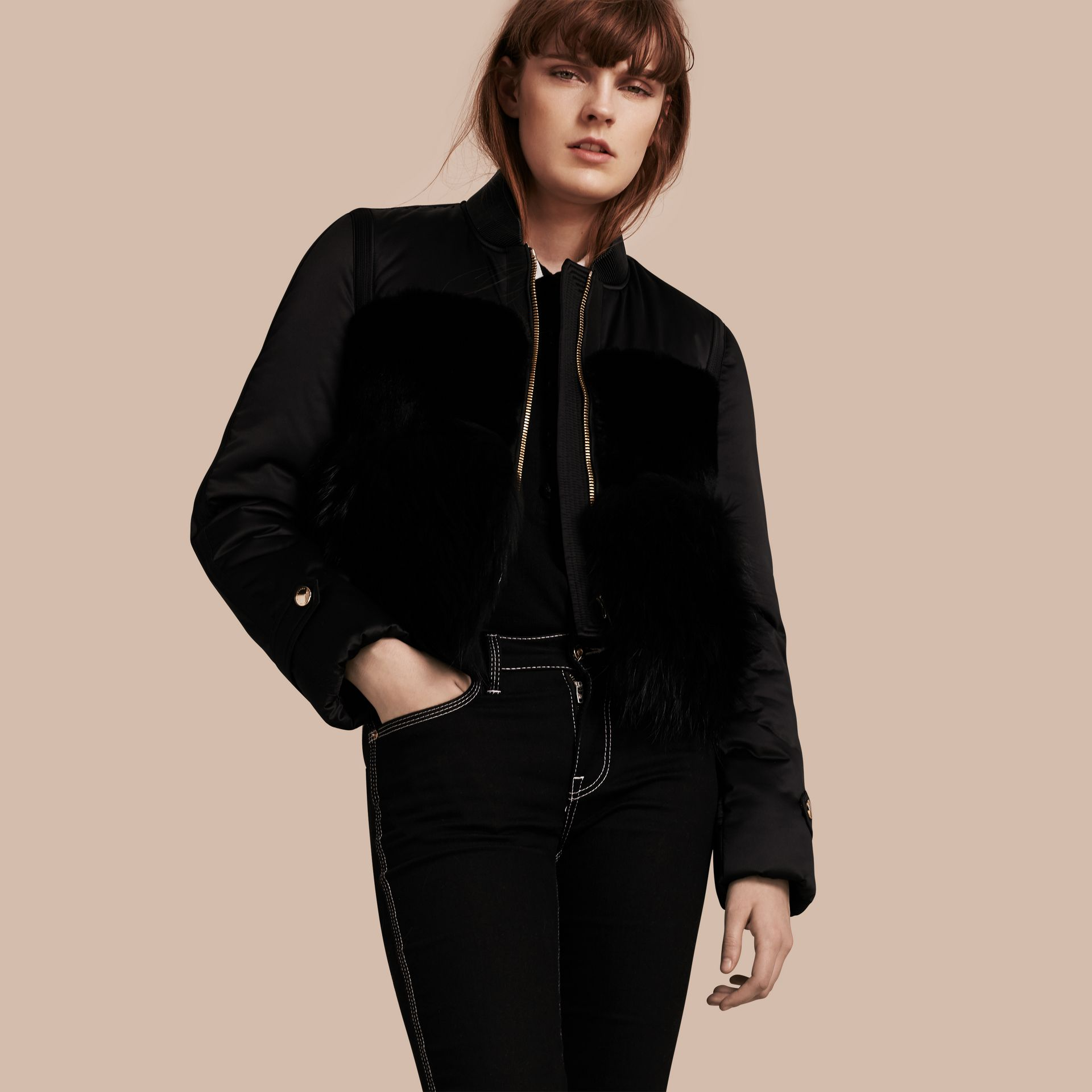 Black Fur-trimmed Satin Bomber Jacket - gallery image 1