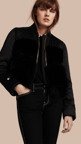 Fur-trimmed Satin Bomber Jacket