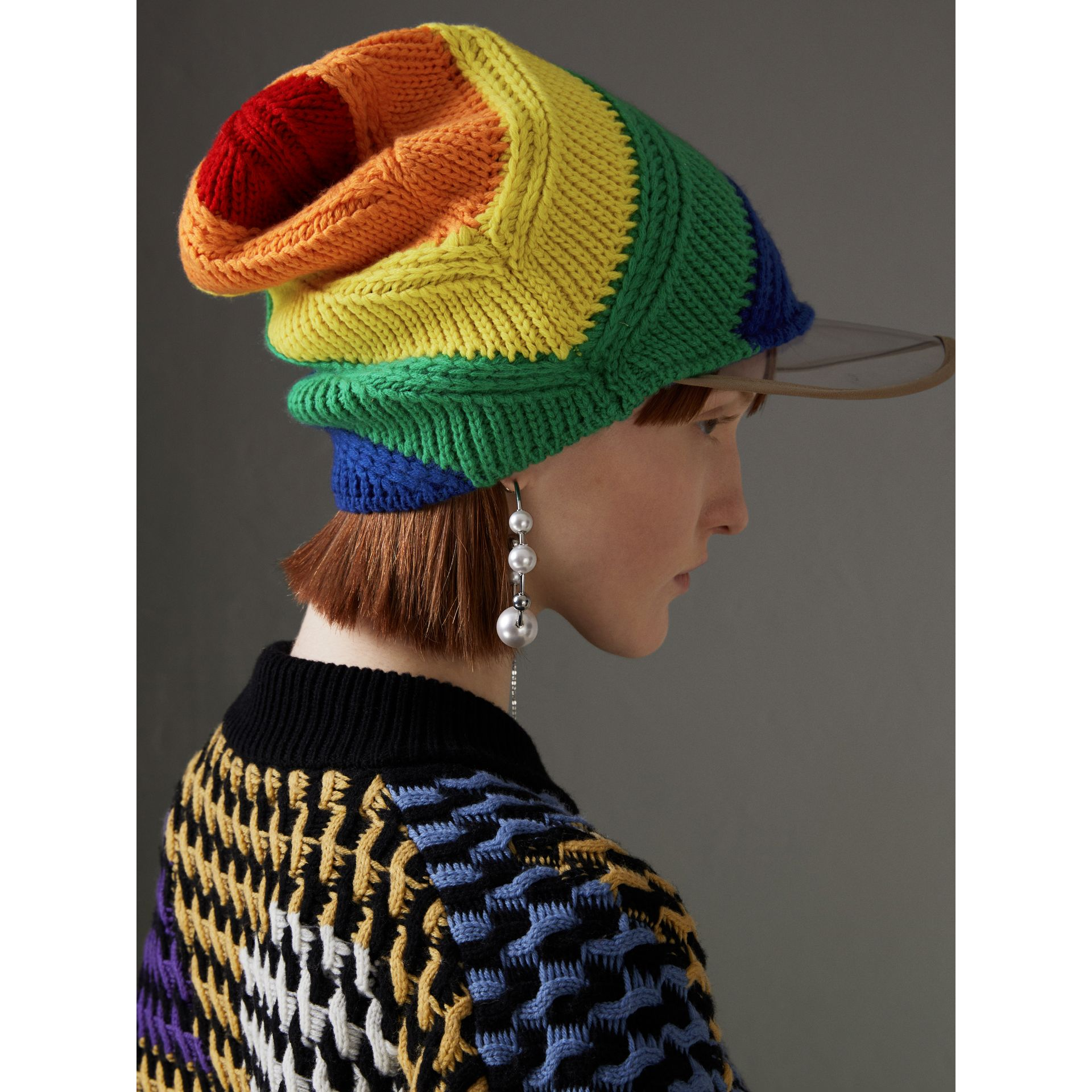 Rainbow Wool Cashmere Peaked Beanie | Burberry United Kingdom - gallery image 4