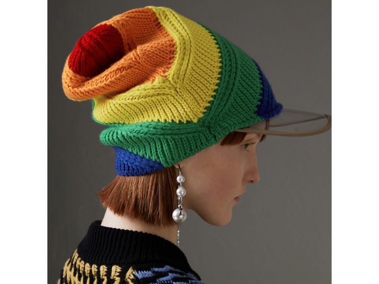 Rainbow Cashmere Peaked Beanie | Burberry United Kingdom - cell image 4