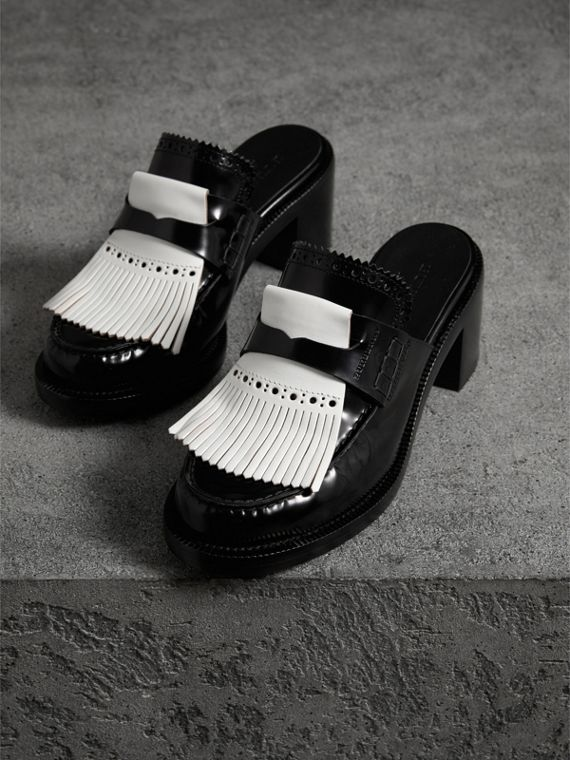 Contrast Kiltie Fringe Leather Block-heel Mules in Black - Women | Burberry Hong Kong - cell image 3