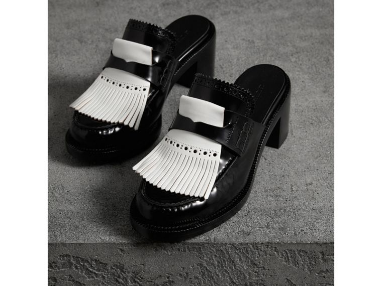 Contrast Kiltie Fringe Leather Block-heel Mules in Black - Women | Burberry - cell image 4