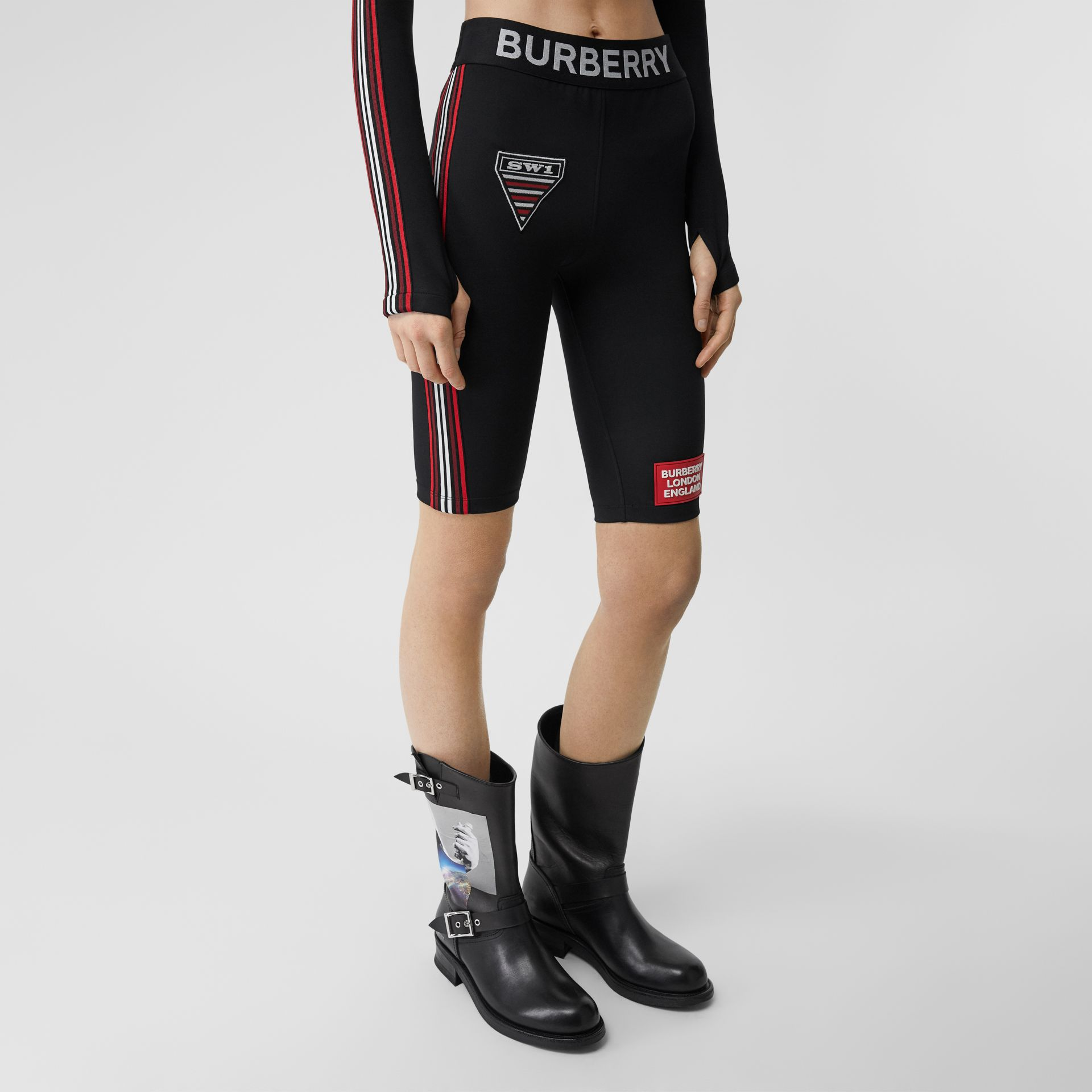 Logo Graphic Stretch Jersey Cycling Shorts in Black - Women | Burberry - gallery image 4