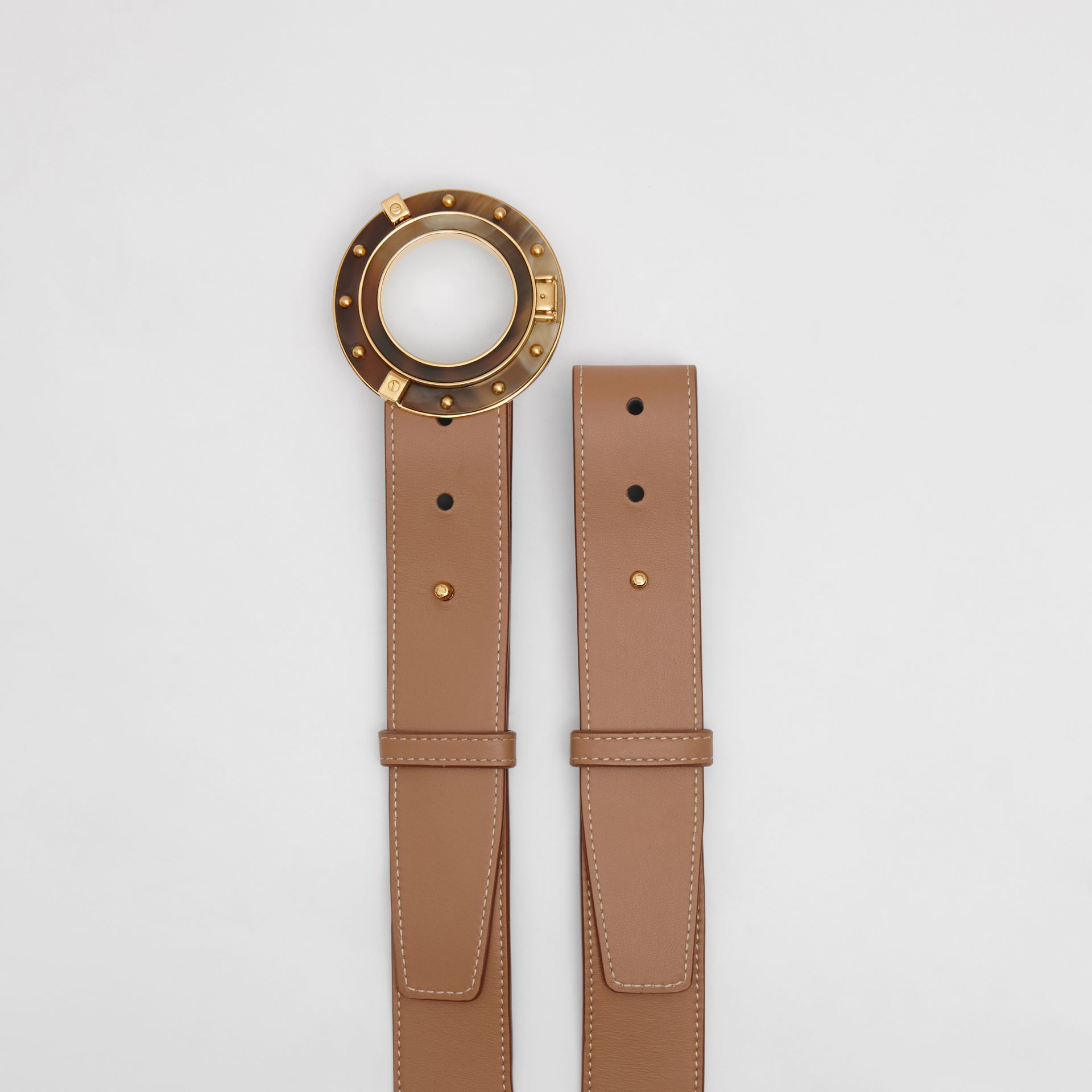 Porthole Buckle Leather Belt in Light Camel - Women | Burberry - gallery image 4
