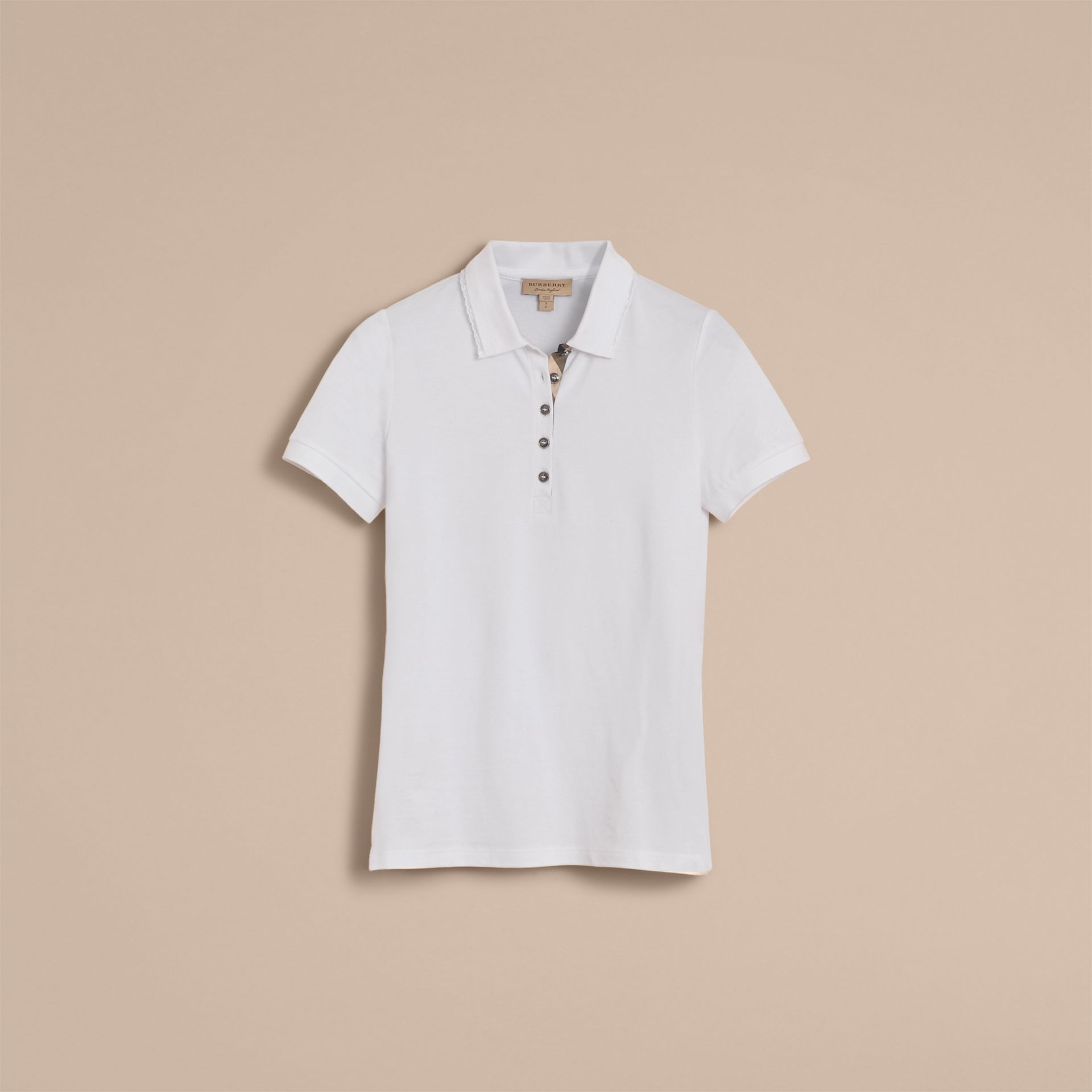 Lace Trim Cotton Blend Polo Shirt with Check Detail in White - Women | Burberry - gallery image 4