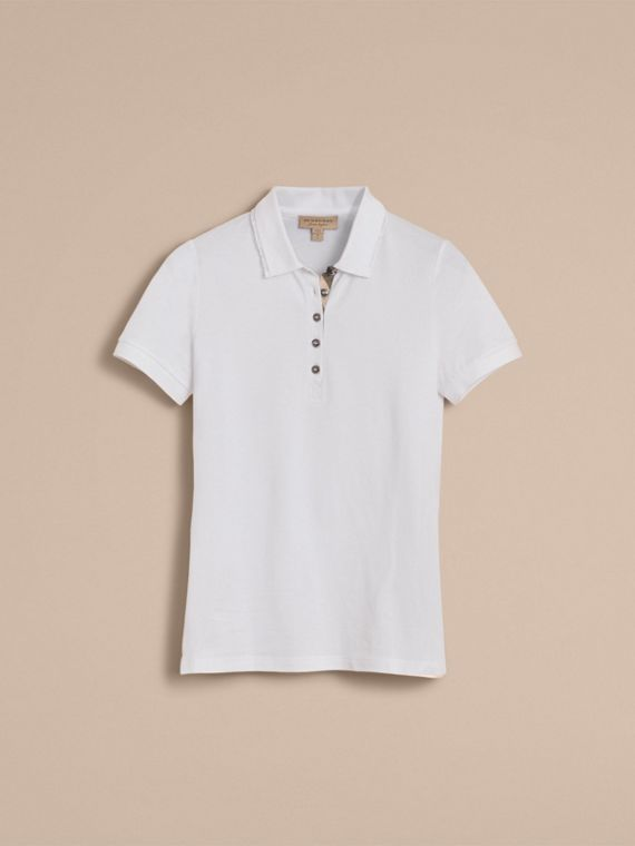 Lace Trim Cotton Blend Polo Shirt with Check Detail in White - Women | Burberry - cell image 3