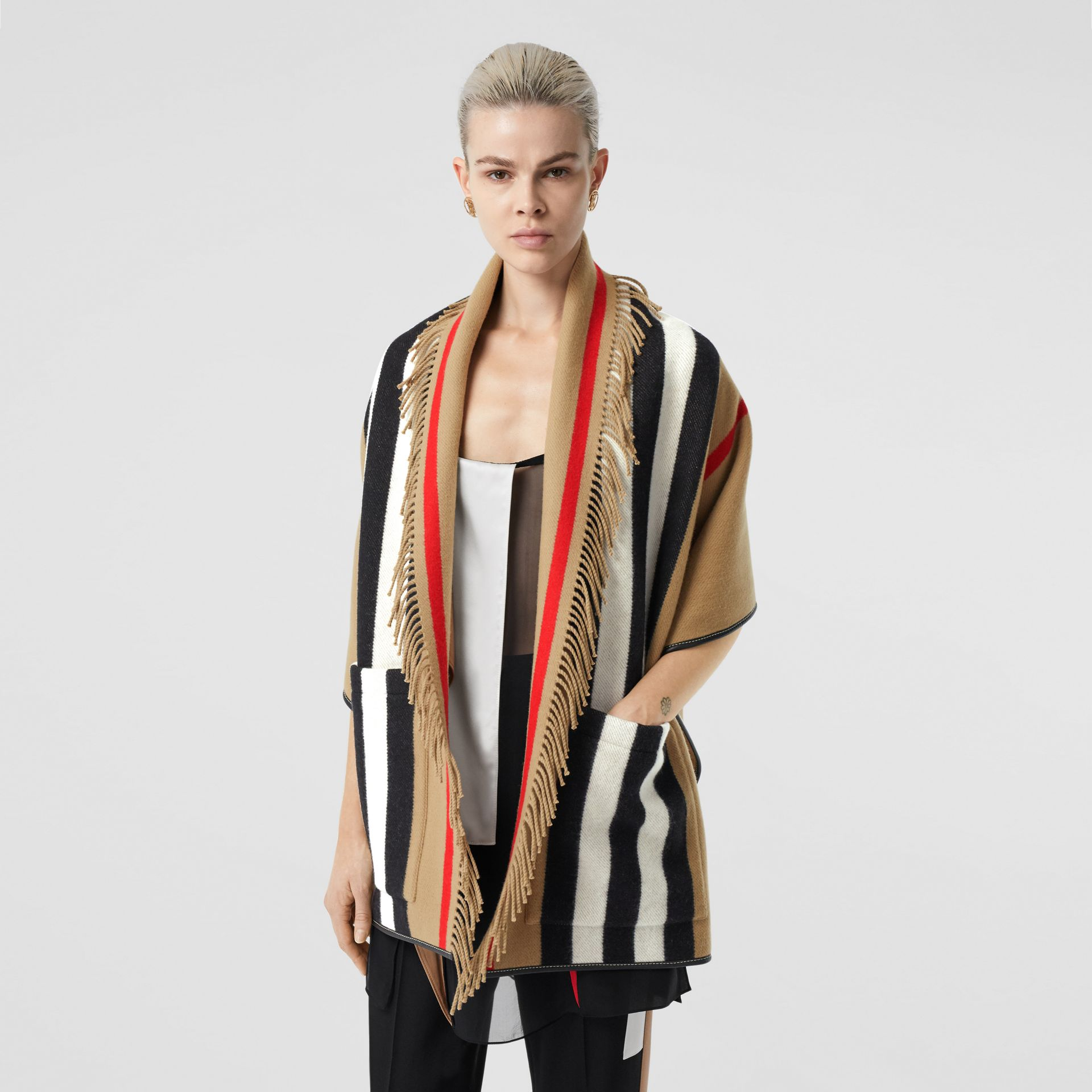 Icon Stripe Wool Cashmere Jacquard Cape in Archive Beige - Women | Burberry Canada - gallery image 0