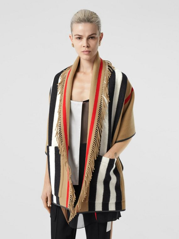 Icon Stripe Wool Cashmere Jacquard Cape in Archive Beige