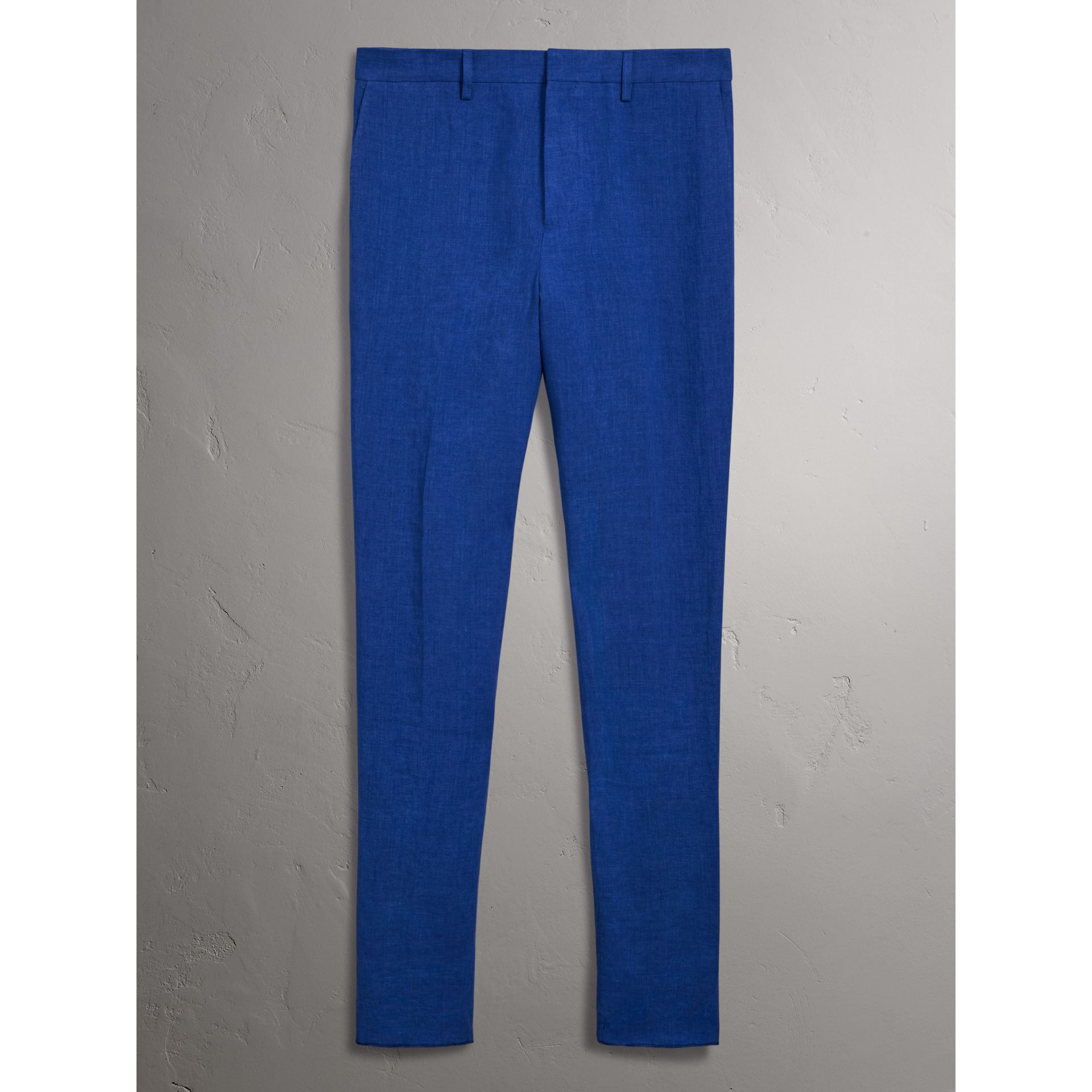 Soho Fit Linen Trousers in Violet Blue - Men | Burberry United States - gallery image 3