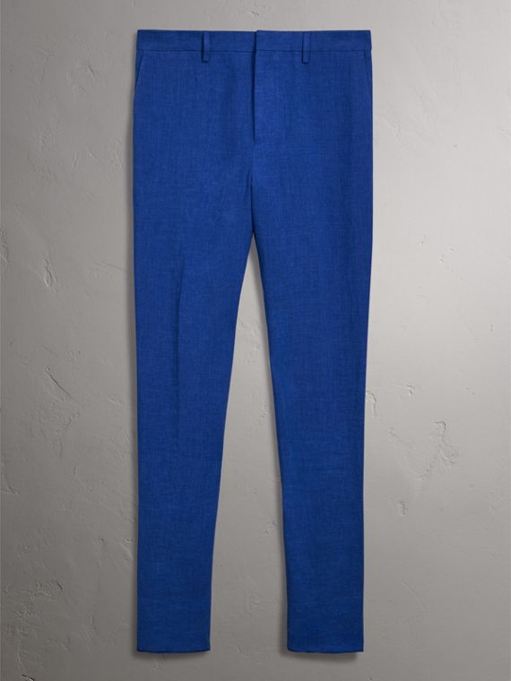 Soho Fit Linen Trousers in Violet Blue - Men | Burberry - cell image 3
