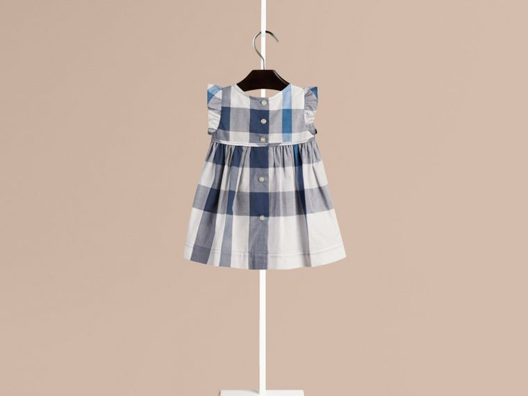 Ink blue Flutter Sleeve Check Dress Ink Blue - cell image 1